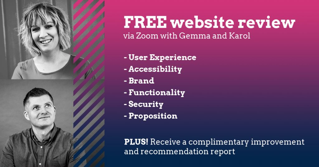 A social media graphic promoting our free website reviews